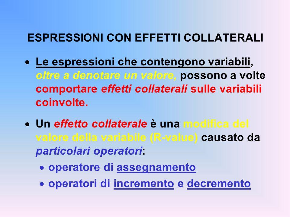 ESPRESSIONI CON EFFETTI COLLATERALI Le espressioni che contengono variabili, oltre a denotare un valore, possono a volte comportare effetti collateral
