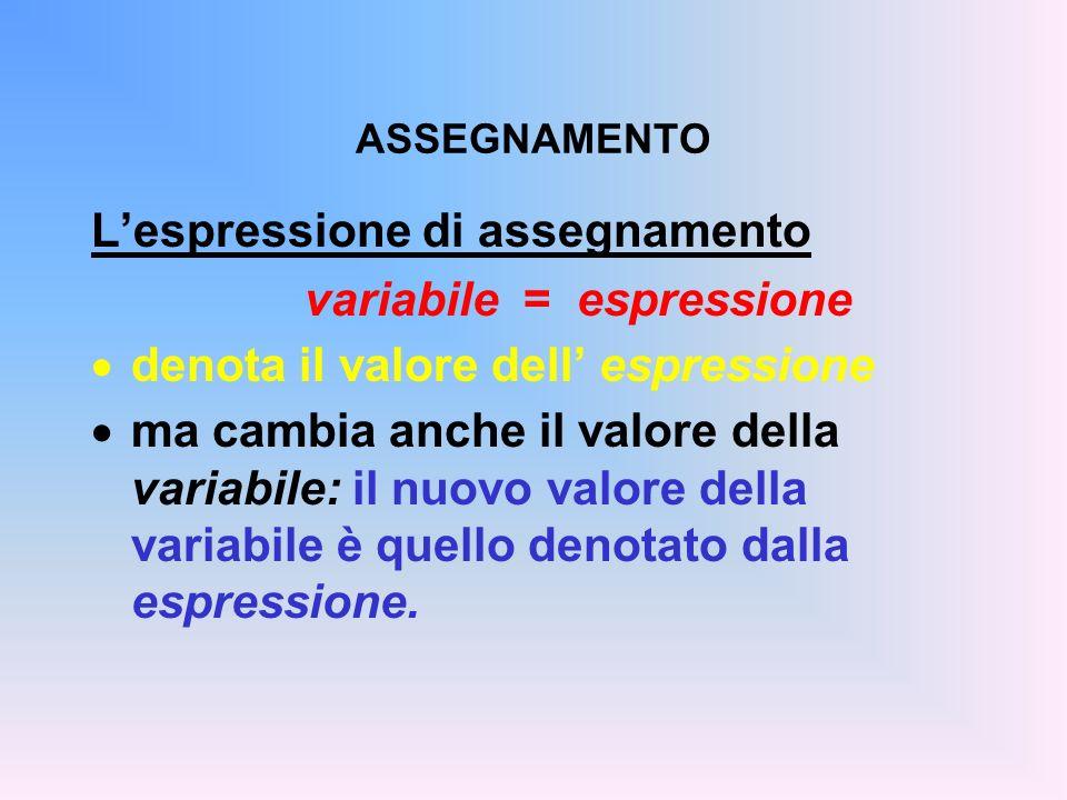 ASSEGNAMENTO Lespressione di assegnamento variabile = espressione denota il valore dell espressione ma cambia anche il valore della variabile: il nuov