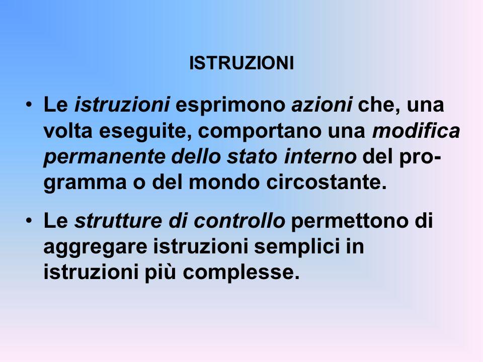ISTRUZIONI Le istruzioni esprimono azioni che, una volta eseguite, comportano una modifica permanente dello stato interno del pro- gramma o del mondo