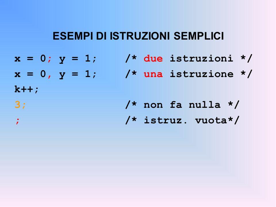 ESEMPI DI ISTRUZIONI SEMPLICI x = 0; y = 1;/* due istruzioni */ x = 0, y = 1;/* una istruzione */ k++; 3;/* non fa nulla */ ;/* istruz. vuota*/