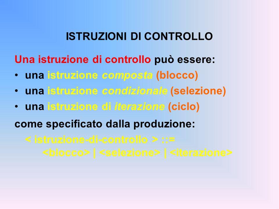 ISTRUZIONI DI CONTROLLO Una istruzione di controllo può essere: una istruzione composta (blocco) una istruzione condizionale (selezione) una istruzion