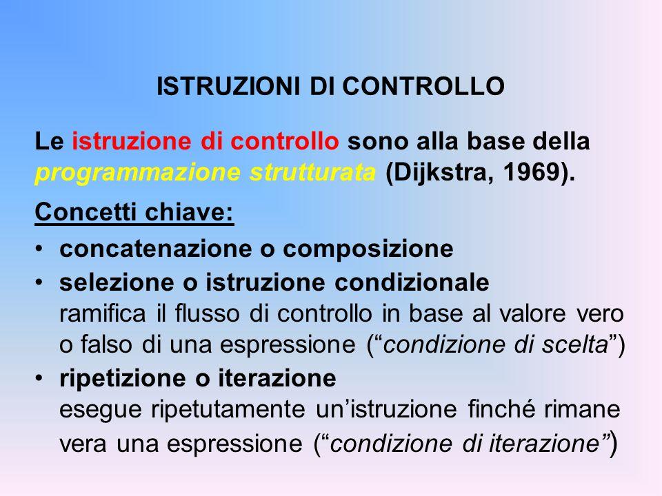 ISTRUZIONI DI CONTROLLO Le istruzione di controllo sono alla base della programmazione strutturata (Dijkstra, 1969). Concetti chiave: concatenazione o
