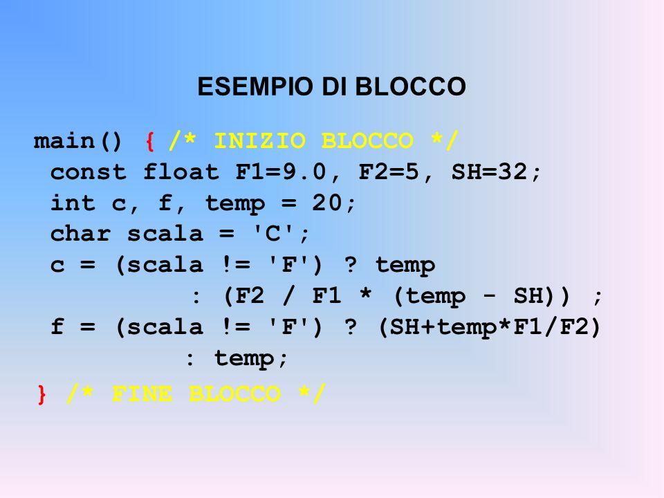 ESEMPIO DI BLOCCO main() {/* INIZIO BLOCCO */ const float F1=9.0, F2=5, SH=32; int c, f, temp = 20; char scala = 'C'; c = (scala != 'F') ? temp : (F2