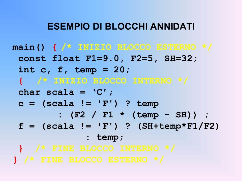 ESEMPIO DI BLOCCHI ANNIDATI main() {/* INIZIO BLOCCO ESTERNO */ const float F1=9.0, F2=5, SH=32; int c, f, temp = 20; {/* INIZIO BLOCCO INTERNO */ cha