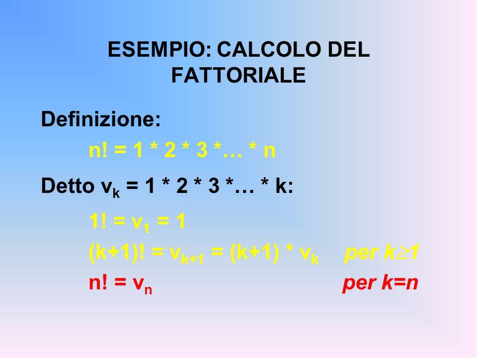 ESEMPIO: CALCOLO DEL FATTORIALE Definizione: n! = 1 * 2 * 3 *… * n Detto v k = 1 * 2 * 3 *… * k: 1! = v 1 = 1 (k+1)! = v k+1 = (k+1) * v k per k 1 n!
