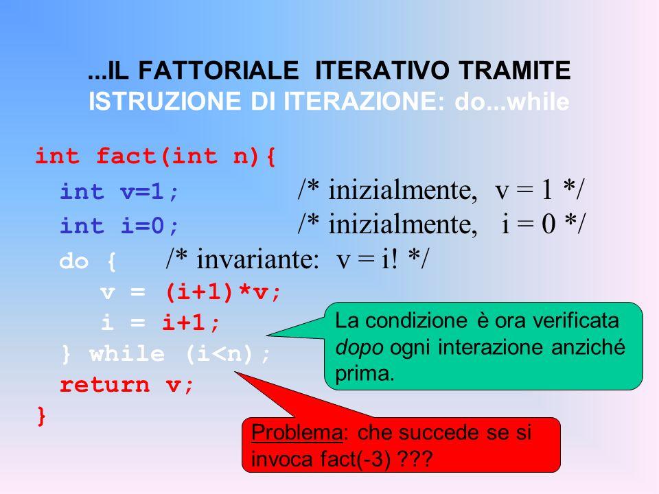 ...IL FATTORIALE ITERATIVO TRAMITE ISTRUZIONE DI ITERAZIONE: do...while int fact(int n){ int v=1; /* inizialmente, v = 1 */ int i=0; /* inizialmente,