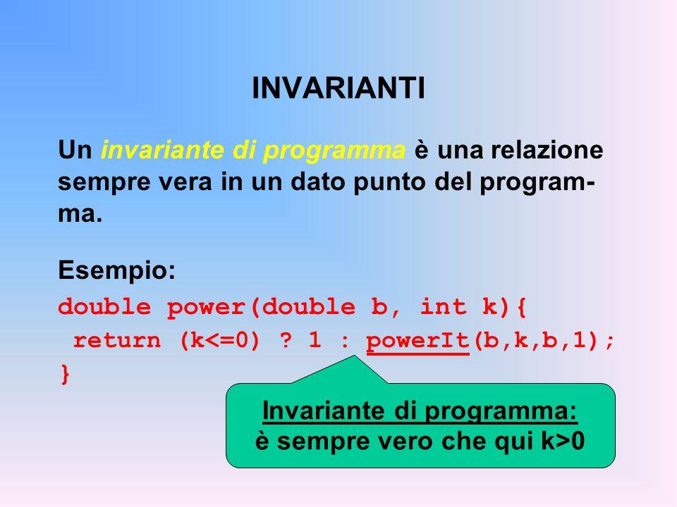 INVARIANTI DI CICLO Un invariante di ciclo è una relazione sem- pre vera, in un dato punto del programma, a ogni iterazione.