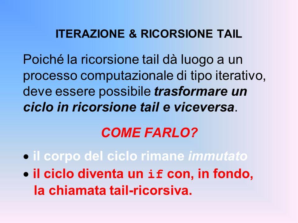 ITERAZIONE & RICORSIONE TAIL Poiché la ricorsione tail dà luogo a un processo computazionale di tipo iterativo, deve essere possibile trasformare un c