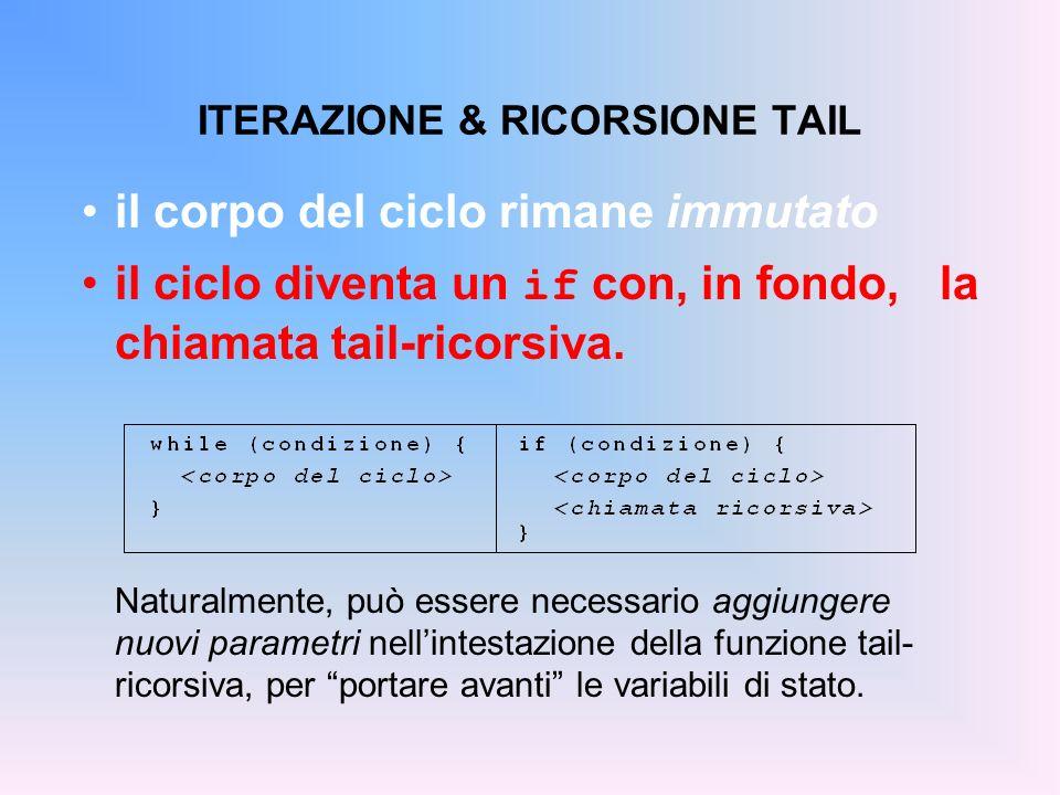 ITERAZIONE & RICORSIONE TAIL il corpo del ciclo rimane immutato il ciclo diventa un if con, in fondo, la chiamata tail-ricorsiva. Naturalmente, può es