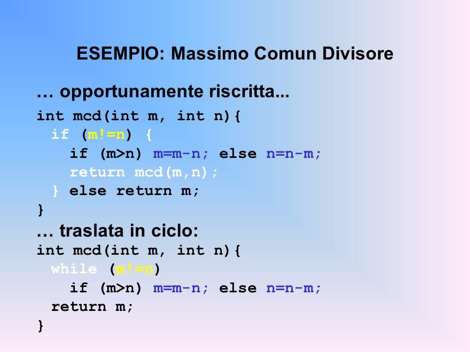 ESEMPIO: Massimo Comun Divisore … opportunamente riscritta... int mcd(int m, int n){ if (m!=n) { if (m>n) m=m-n; else n=n-m; return mcd(m,n); } else r
