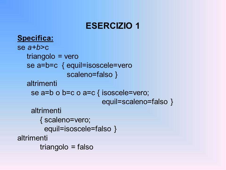 ESERCIZIO 1 Specifica: se a+b>c triangolo = vero se a=b=c { equil=isoscele=vero scaleno=falso } altrimenti se a=b o b=c o a=c { isoscele=vero; equil=s