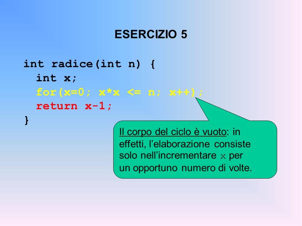 ESERCIZIO 5 int radice(int n) { int x; for(x=0; x*x <= n; x++); return x-1; } Il corpo del ciclo è vuoto: in effetti, lelaborazione consiste solo nell