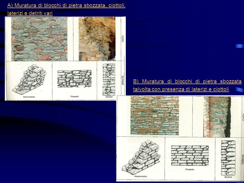 A) Muratura di blocchi di pietra sbozzata, ciottoli, laterizi e detriti vari B) Muratura di blocchi di pietra sbozzata talvolta con presenza di lateri