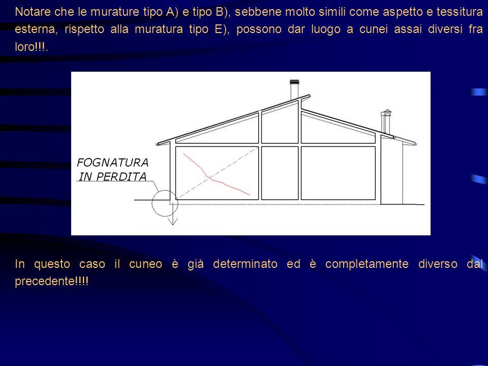 Notare che le murature tipo A) e tipo B), sebbene molto simili come aspetto e tessitura esterna, rispetto alla muratura tipo E), possono dar luogo a c