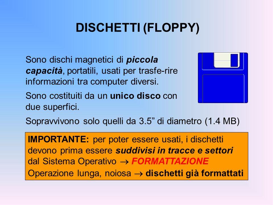 DISCHETTI (FLOPPY) Sono dischi magnetici di piccola capacità, portatili, usati per trasfe-rire informazioni tra computer diversi. Sono costituiti da u
