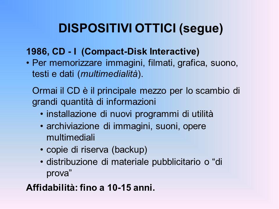 DISPOSITIVI OTTICI (segue) 1986, CD - I (Compact-Disk Interactive) Per memorizzare immagini, filmati, grafica, suono, testi e dati (multimedialità). O