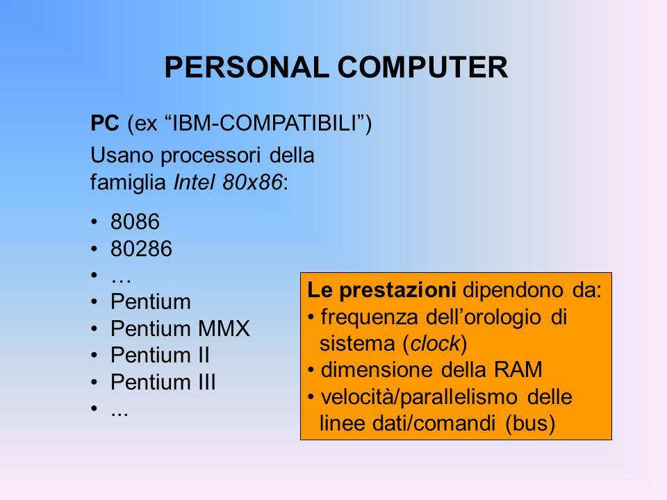 PERSONAL COMPUTER PC (ex IBM-COMPATIBILI) Usano processori della famiglia Intel 80x86: 8086 80286 … Pentium Pentium MMX Pentium II Pentium III... Le p
