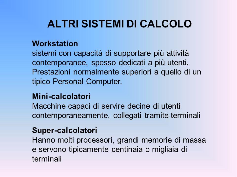 ALTRI SISTEMI DI CALCOLO Workstation sistemi con capacità di supportare più attività contemporanee, spesso dedicati a più utenti. Prestazioni normalme