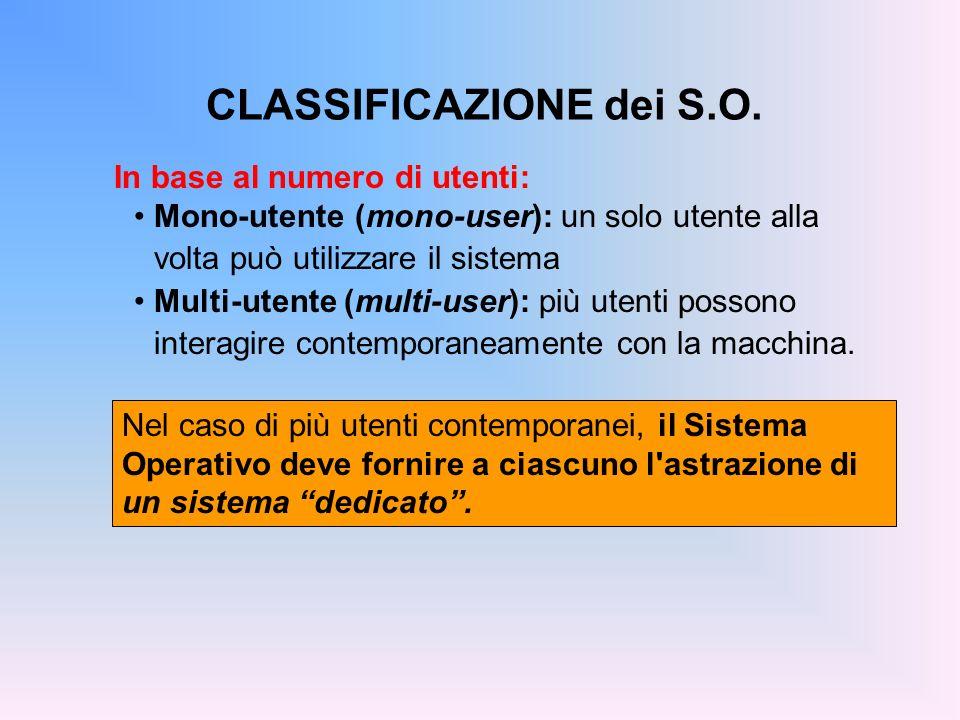CLASSIFICAZIONE dei S.O. Nel caso di più utenti contemporanei, il Sistema Operativo deve fornire a ciascuno l'astrazione di un sistema dedicato. In ba