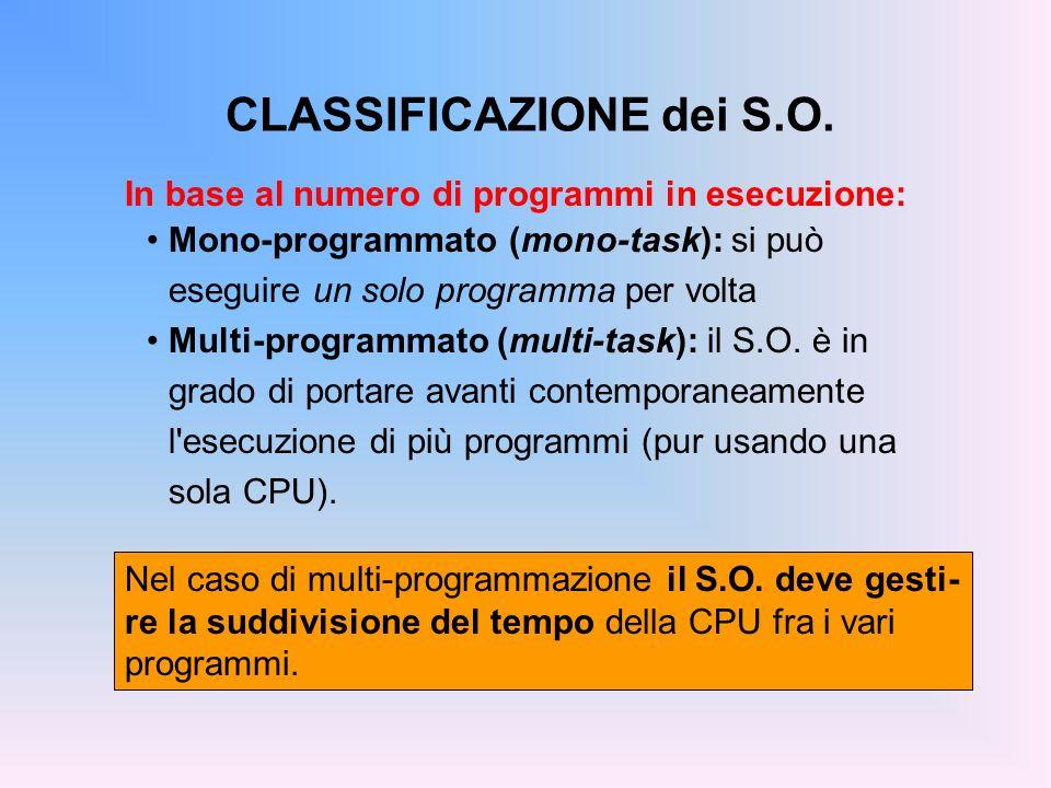 CLASSIFICAZIONE dei S.O. Nel caso di multi-programmazione il S.O. deve gesti- re la suddivisione del tempo della CPU fra i vari programmi. In base al