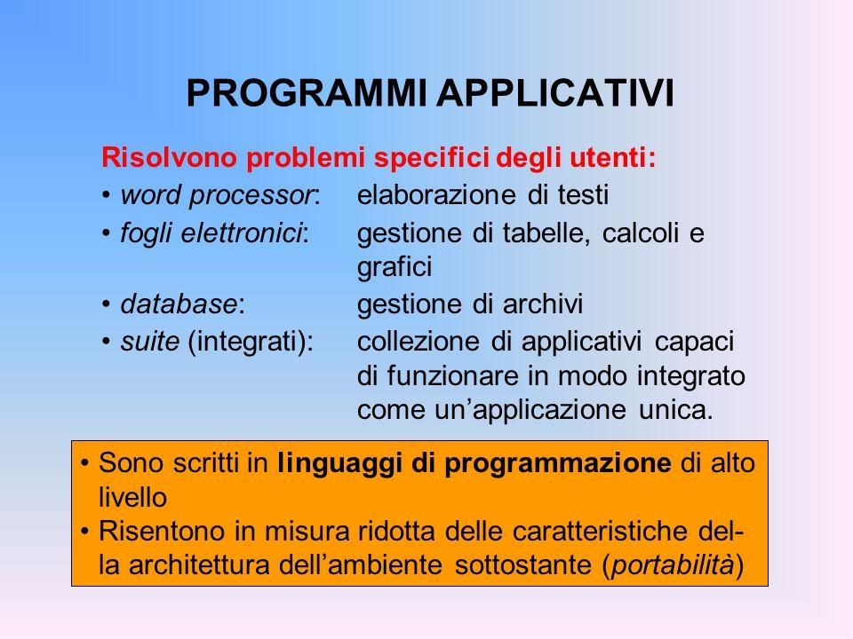 PROGRAMMI APPLICATIVI Risolvono problemi specifici degli utenti: word processor:elaborazione di testi fogli elettronici:gestione di tabelle, calcoli e