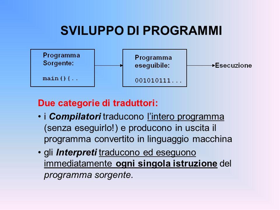 SVILUPPO DI PROGRAMMI Due categorie di traduttori: i Compilatori traducono lintero programma (senza eseguirlo!) e producono in uscita il programma con
