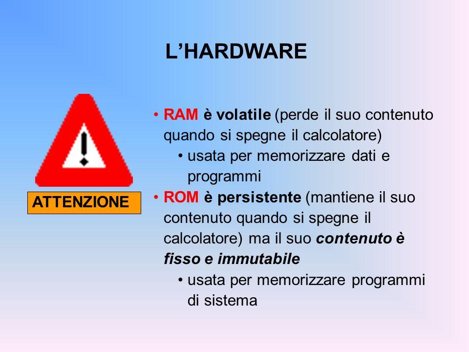 LHARDWARE RAM è volatile (perde il suo contenuto quando si spegne il calcolatore) usata per memorizzare dati e programmi ROM è persistente (mantiene i