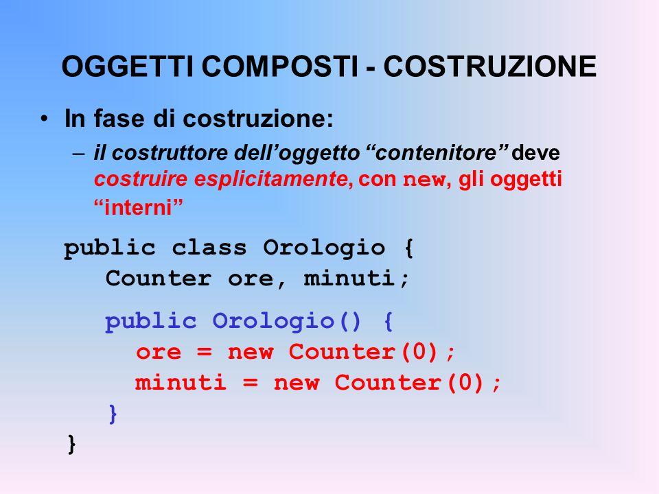 ESEMPIO … al contatore avanti/indietro (con decremento) public class Counter2 { private Counter c; public Counter2() { c = new Counter(); } public Counter2(int v){ c = new Counter(v); } public void reset() { c.reset(); } public void inc() { c.inc(); } public int getValue() { return c.getValue(); } public void dec() {...