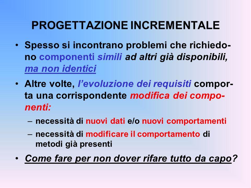 PROGETTAZIONE INCREMENTALE Spesso si incontrano problemi che richiedo- no componenti simili ad altri già disponibili, ma non identici Altre volte, lev