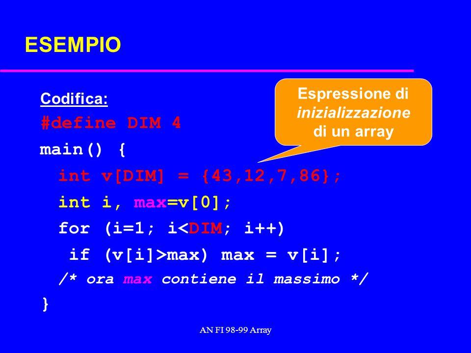 AN FI 98-99 Array ESEMPIO Codifica: #define DIM 4 main() { int v[DIM] = {43,12,7,86}; int i, max=v[0]; for (i=1; i<DIM; i++) if (v[i]>max) max = v[i]; /* ora max contiene il massimo */ } Espressione di inizializzazione di un array