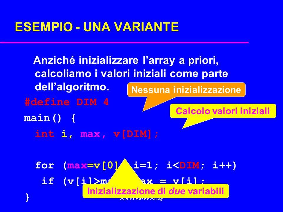 AN FI 98-99 Array ESEMPIO - UNA VARIANTE Anziché inizializzare larray a priori, calcoliamo i valori iniziali come parte dellalgoritmo.
