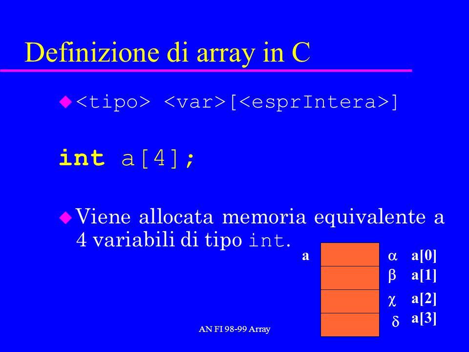 AN FI 98-99 Array Inizializzazione di array in C int a[3] = {10,20,30}; inizializza il blocco di memoria associato ad a u int a[] = {10,20,30}; 30 a 20 10 a[0] a[1] a[2]