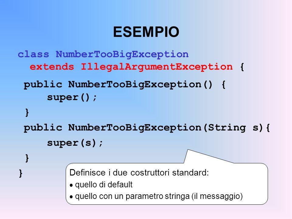 ESEMPIO class NumberTooBigException extends IllegalArgumentException { public NumberTooBigException() { super(); } public NumberTooBigException(String s){ super(s); } Definisce i due costruttori standard: quello di default quello con un parametro stringa (il messaggio)