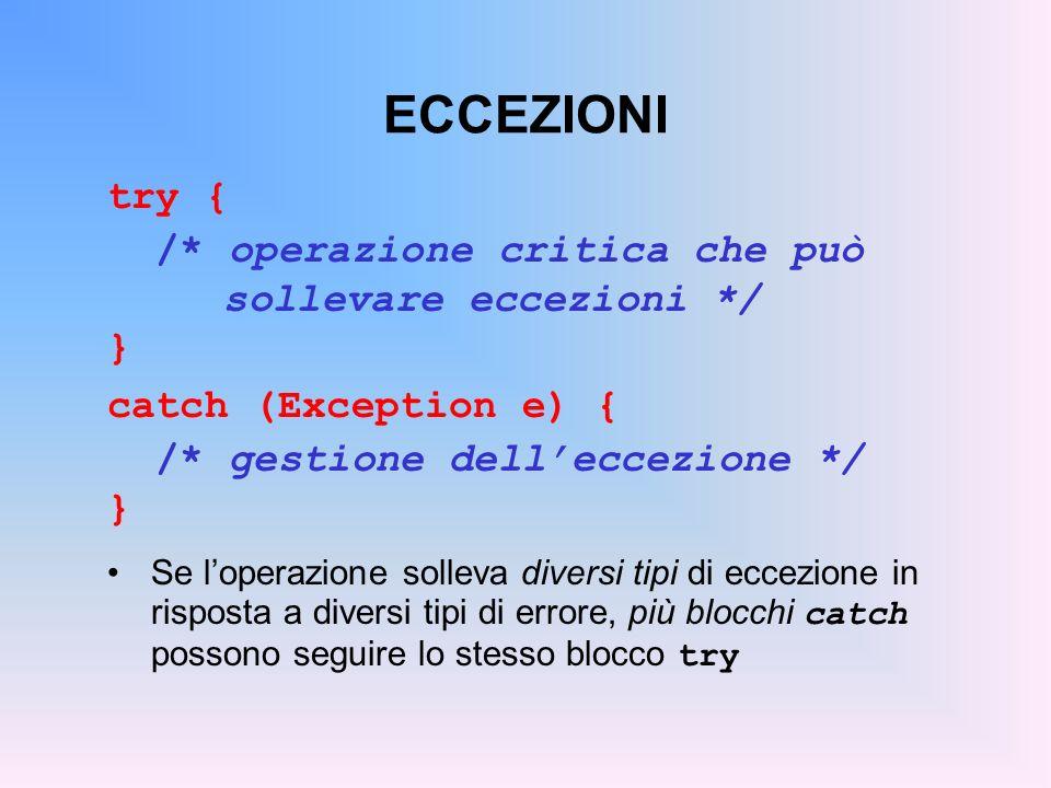 ESEMPIO Per sollevare (generare) uneccezione: prima si crea loggetto eccezione da lanciare poi lo si lancia con listruzione throw public int readInteger(String s) throws NumberFormatException, NumberTooBigException { int x = Integer.parseInt(s); if (x>100) throw new NumberTooBigException(); return x; }