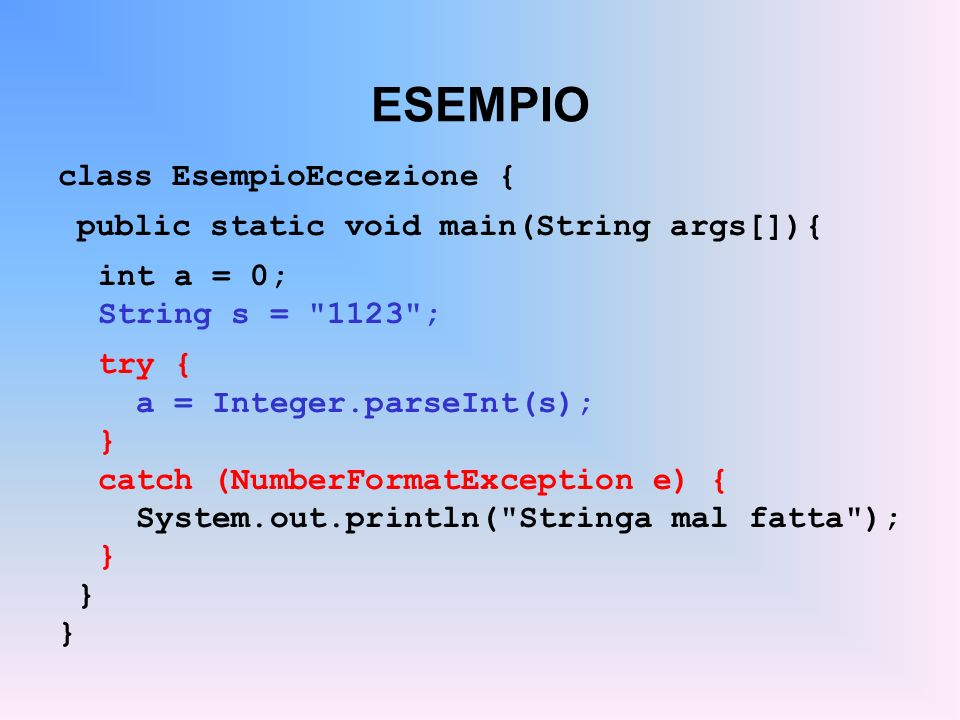 ESEMPIO class EsempioEccezione { public static void main(String args[]){ int a = 0; String s = 1123 ; try { a = Integer.parseInt(s); } catch (NumberFormatException e) { System.out.println( Stringa mal fatta ); }