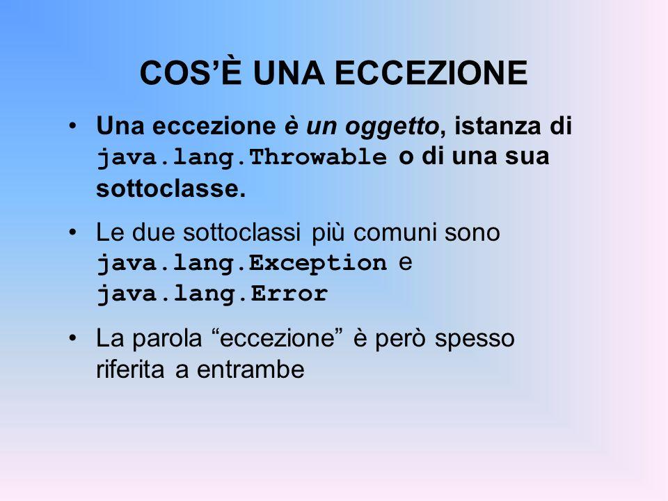 COSÈ UNA ECCEZIONE Una eccezione è un oggetto, istanza di java.lang.Throwable o di una sua sottoclasse.