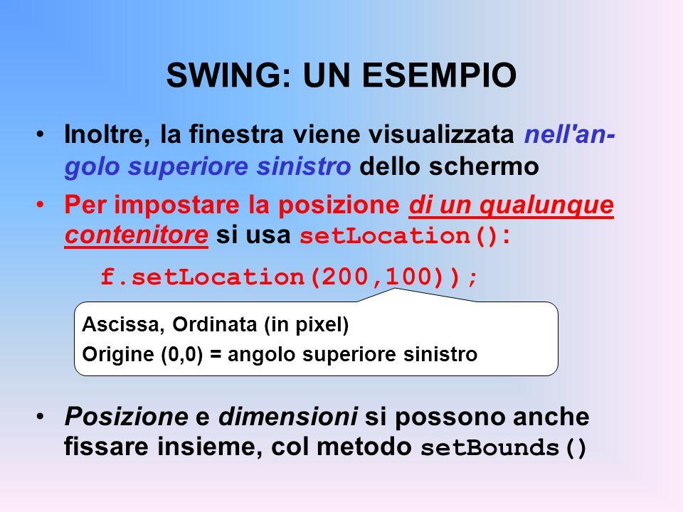 SWING: UN ESEMPIO Inoltre, la finestra viene visualizzata nell'an- golo superiore sinistro dello schermo Per impostare la posizione di un qualunque co