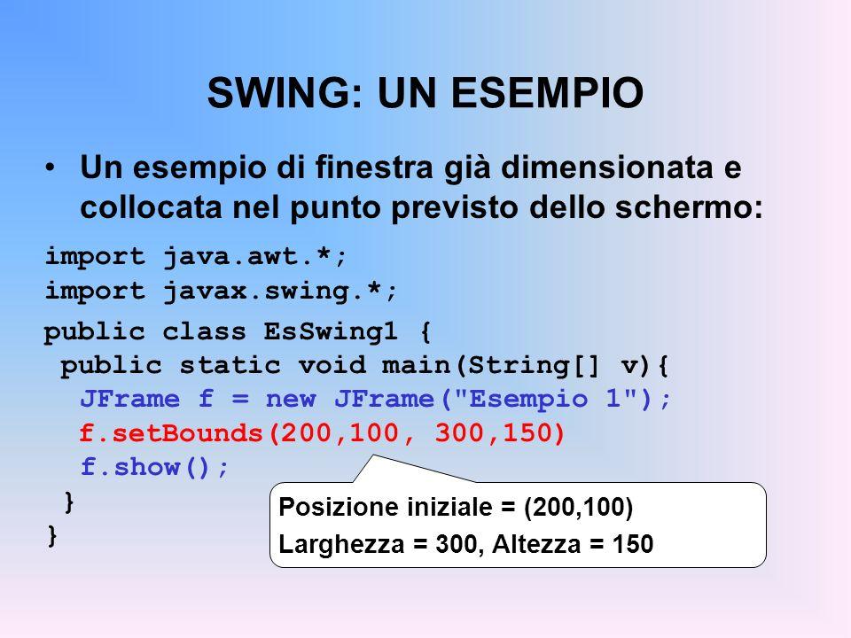 SWING: UN ESEMPIO Un esempio di finestra già dimensionata e collocata nel punto previsto dello schermo: import java.awt.*; import javax.swing.*; publi