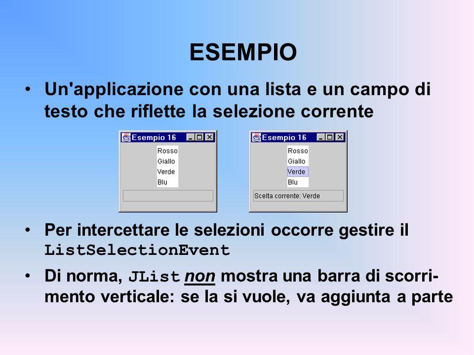 ESEMPIO Un'applicazione con una lista e un campo di testo che riflette la selezione corrente Per intercettare le selezioni occorre gestire il ListSele