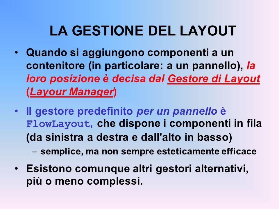 LA GESTIONE DEL LAYOUT Quando si aggiungono componenti a un contenitore (in particolare: a un pannello), la loro posizione è decisa dal Gestore di Lay