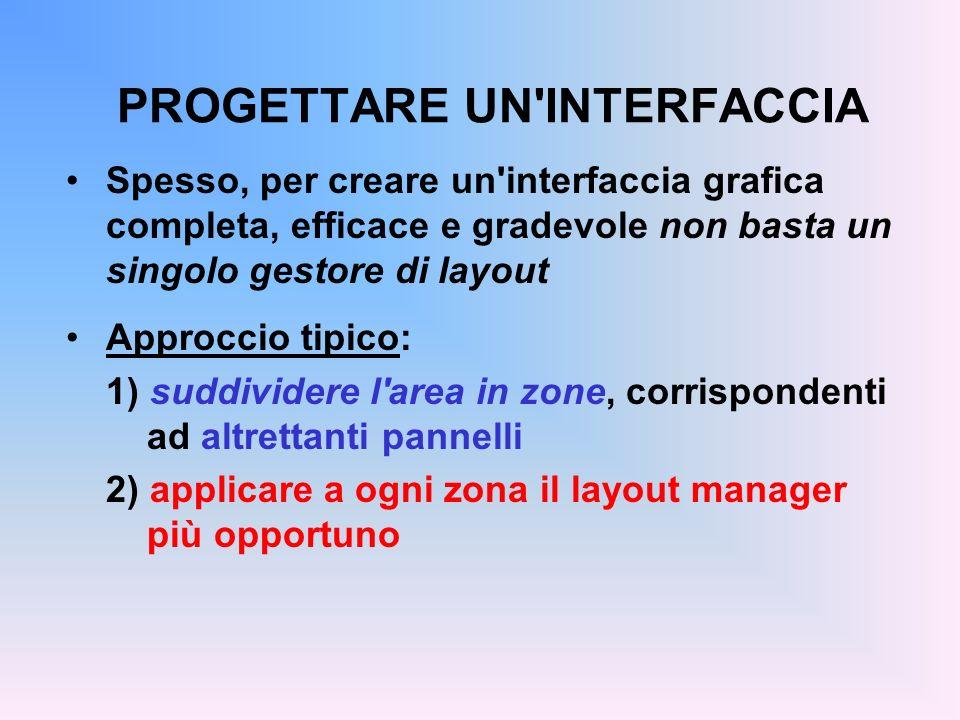 PROGETTARE UN'INTERFACCIA Spesso, per creare un'interfaccia grafica completa, efficace e gradevole non basta un singolo gestore di layout Approccio ti