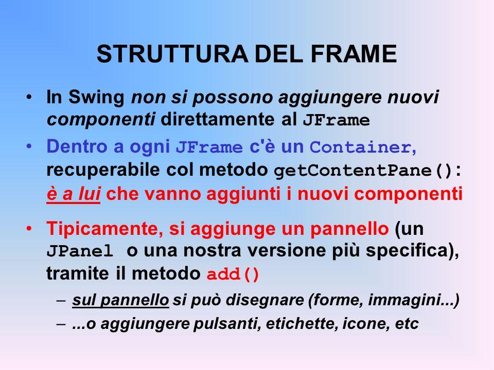 STRUTTURA DEL FRAME In Swing non si possono aggiungere nuovi componenti direttamente al JFrame Dentro a ogni JFrame c'è un Container, recuperabile col