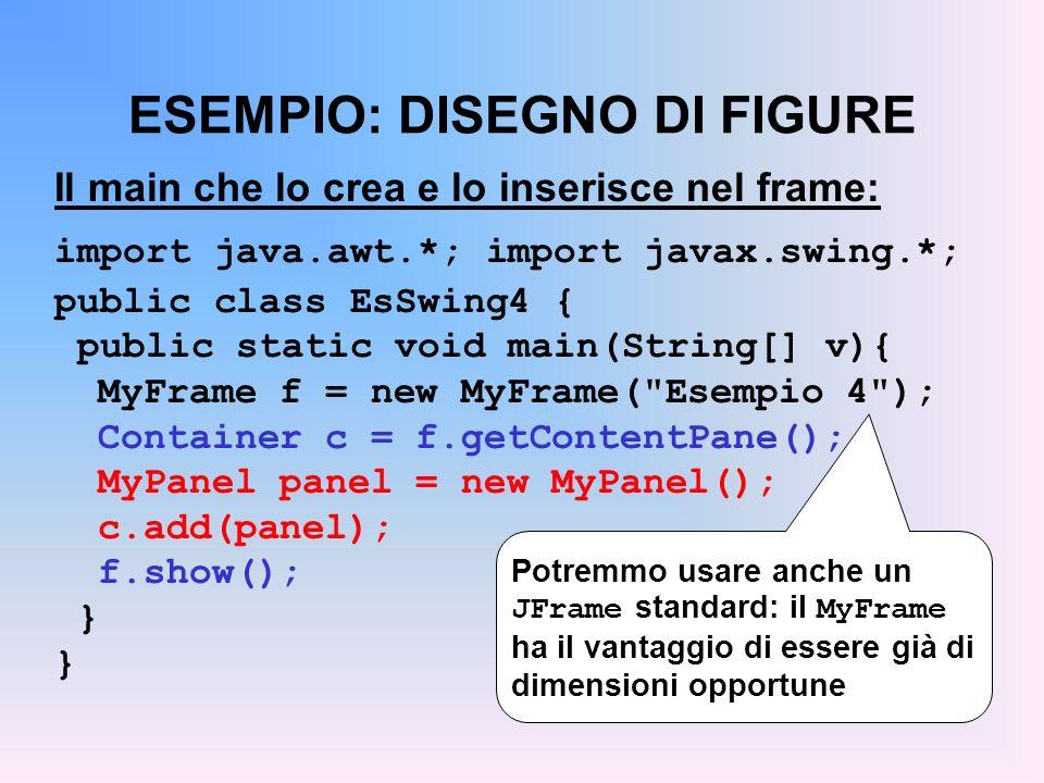 ESEMPIO: DISEGNO DI FIGURE Il main che lo crea e lo inserisce nel frame: import java.awt.*; import javax.swing.*; public class EsSwing4 { public stati