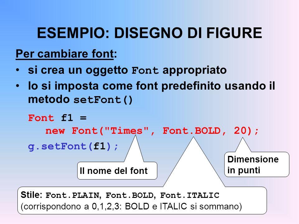 ESEMPIO: DISEGNO DI FIGURE Per cambiare font: si crea un oggetto Font appropriato lo si imposta come font predefinito usando il metodo setFont() Font