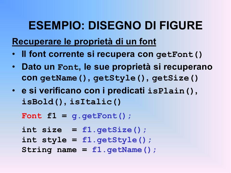 ESEMPIO: DISEGNO DI FIGURE Recuperare le proprietà di un font Il font corrente si recupera con getFont() Dato un Font, le sue proprietà si recuperano