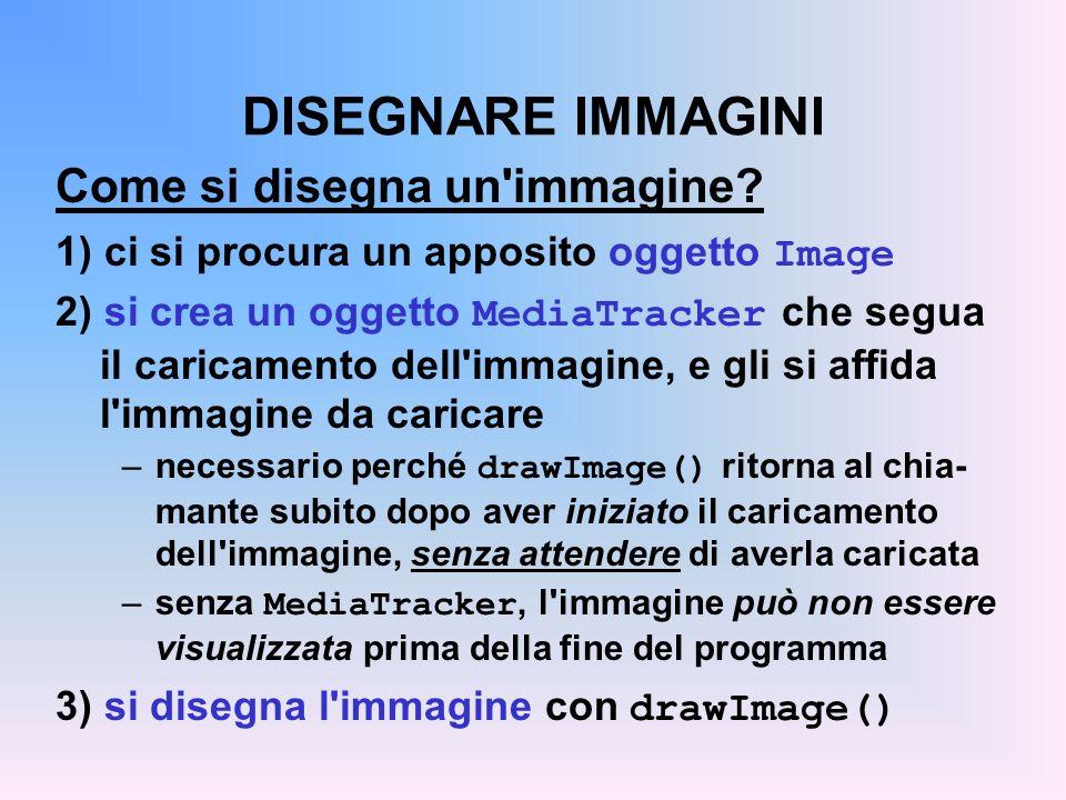 DISEGNARE IMMAGINI Come si disegna un'immagine? 1) ci si procura un apposito oggetto Image 2) si crea un oggetto MediaTracker che segua il caricamento