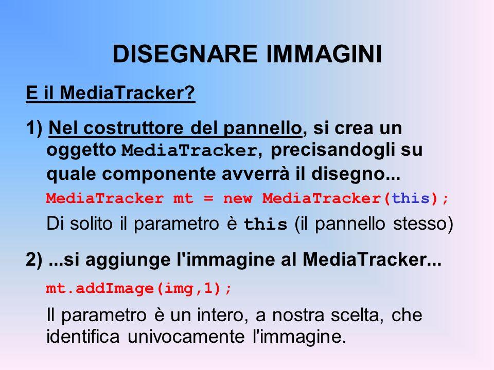 DISEGNARE IMMAGINI E il MediaTracker? 1) Nel costruttore del pannello, si crea un oggetto MediaTracker, precisandogli su quale componente avverrà il d