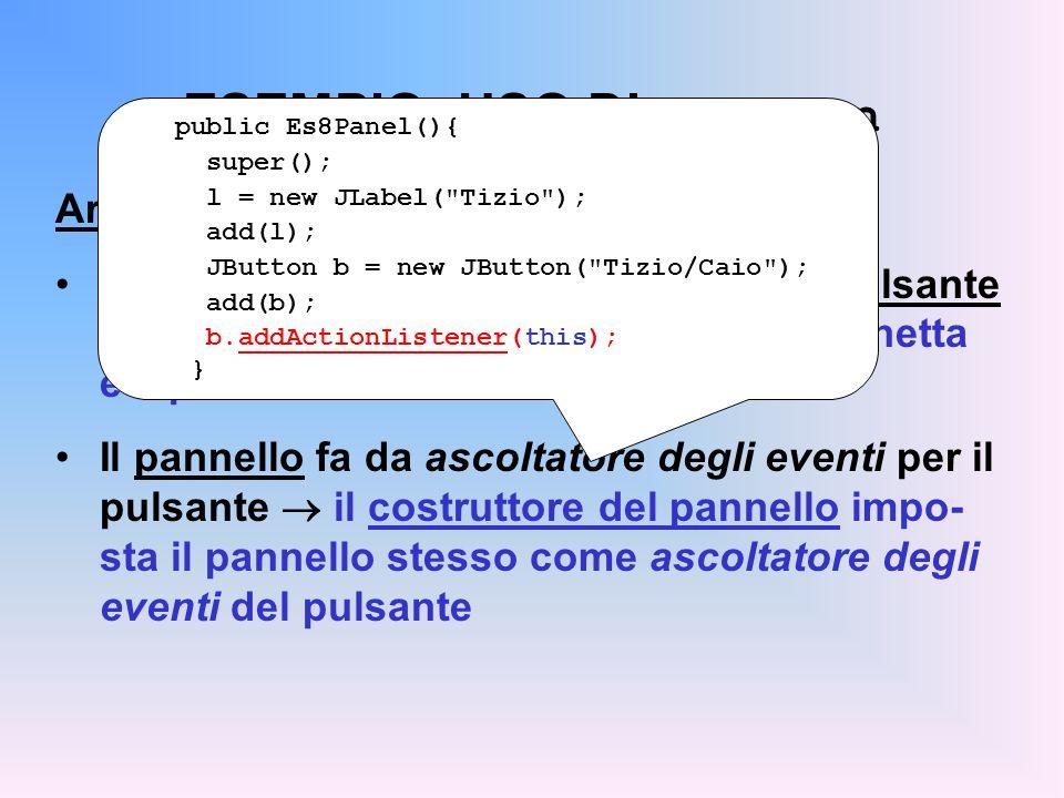 ESEMPIO: USO DI JButton Architettura dell'applicazione Un pannello che contiene etichetta e pulsante il costruttore del pannello crea l'etichetta e il