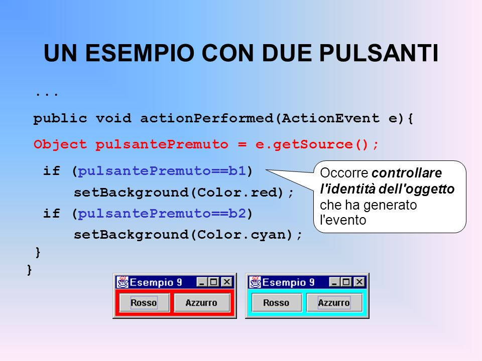 UN ESEMPIO CON DUE PULSANTI... public void actionPerformed(ActionEvent e){ Object pulsantePremuto = e.getSource(); if (pulsantePremuto==b1) setBackgro