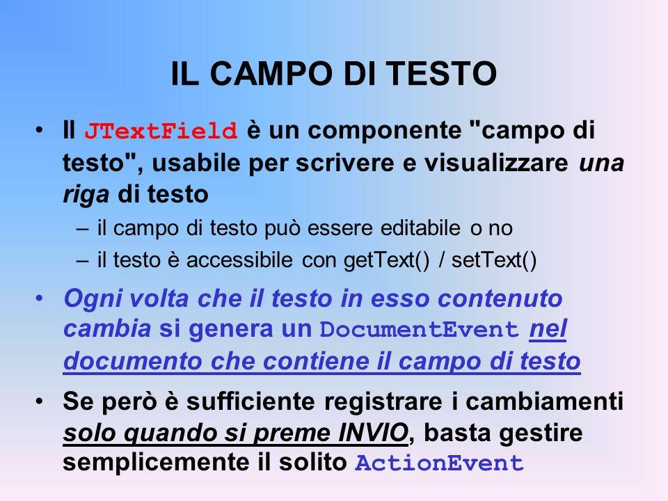 IL CAMPO DI TESTO Il JTextField è un componente